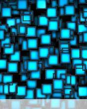 Cubes neon blue wallpaper for Videocon V1414