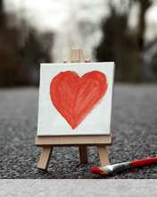 Cute painted heart wallpaper for Videocon V1414