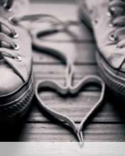 Heart made of shoelaces wallpaper for Videocon V1414