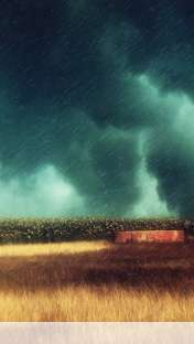 Storm over the field wallpaper for Apple iPhone 5C