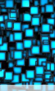 Cubes neon blue wallpaper for Videocon V1580
