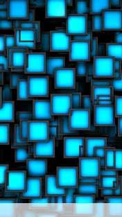 Cubes neon blue wallpaper for Mobiistar touch KEM 452ips