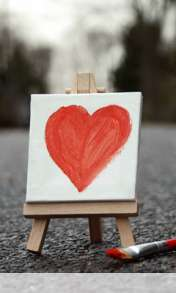 Cute painted heart wallpaper for Videocon V1580