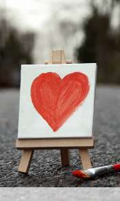 Cute painted heart wallpaper for Alcatel OT 997
