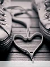 Heart made of shoelaces wallpaper for Pantech Pocket